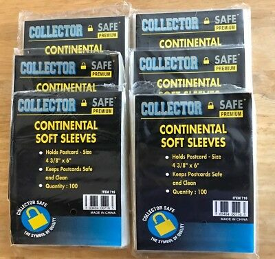 """600 Collector Safe Premium Postcard Soft Sleeves 4 3/8"""" x 6"""" *SHIPS FREE*"""