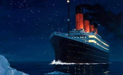 Holiday Gifts Home Decor Titanic And Iceberg Oil painting Printed On Canvas