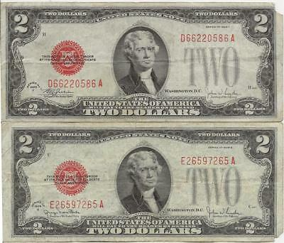 2 Small Size $2 Series 1928-F & 1928-G Legal Tender Notes