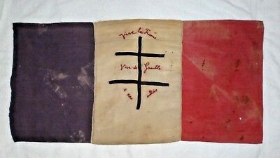 Rare Ww2 Liberation French Flag  39/45 Croix De Lorraine Hand Sewn Embroidered.