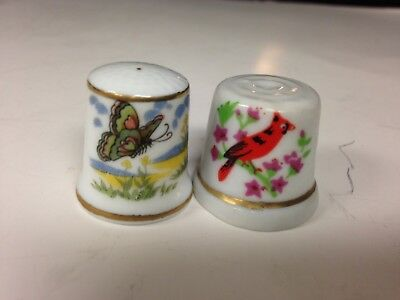 2 Very Nice Thimbles. 1 Porcelain w/Cardinal, 1 Bone China w/Butterfly