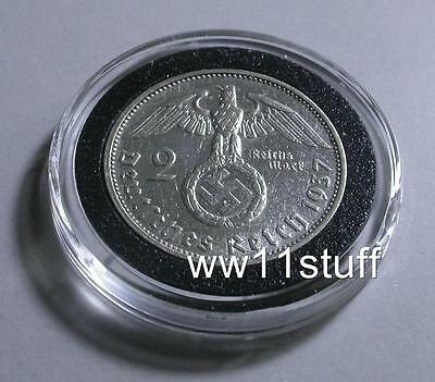 WWII GERMAN 1937 2 Reichsmark War time coin, Silver  coin W/ Swastika, WW2