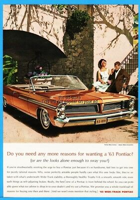 1963 Pontiac Bonneville Convertible Vintage Car Art 1960s General Motors GM Ad
