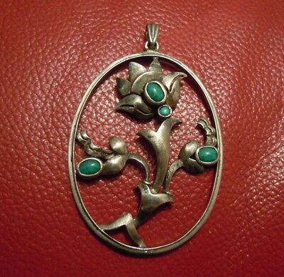 Imperial Russian Large Silver 84 Pendant withTurquoise  period of Romanovs