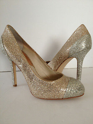 a004baf6966 Michael Kors SINCLAIR PUMP Rose Gold Silver Sand Glitter Round Toes Heels  7.5