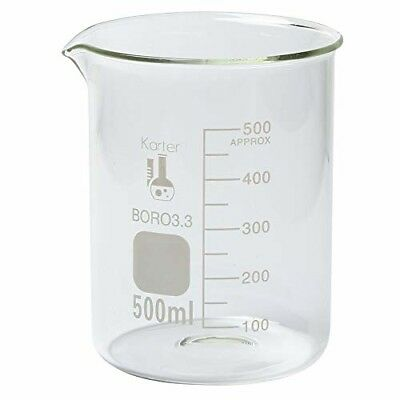 500ml Beaker, Low Form Griffin, Borosilicate 3.3 Glass, Graduated, Top Quality