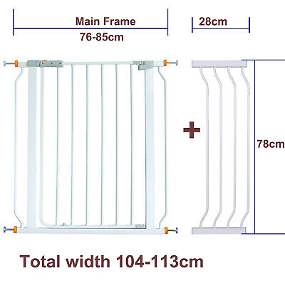 78CM High Adjustable 104-113CM Baby Pet Child Safety Security Gate Stair Barrier