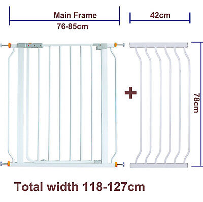 78CM High Adjustable 118-127CM Baby Pet Child Safety Security Gate Stair Barrier