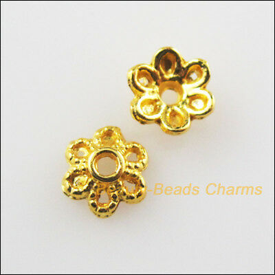100Pcs Gold Plated Tiny Flower End Bead Caps Connectors 6mm
