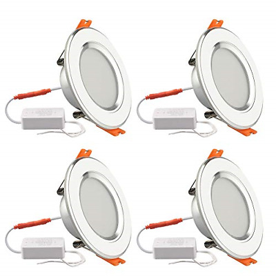 """4 Pack 4W Ceiling Panel Lights Dimmable Led Downlight 3 Colors 3"""" White Recessed"""