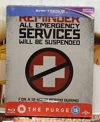 New The Purge Blu-Ray Steelbook! Uk Zavvi Exclusive+ Region Free! Factory Sealed
