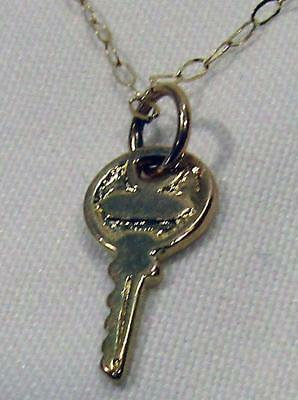 9ct 9k Yellow Gold Cable Link Chain Necklace Key Pendant 21st Gift 380 mm .80 gm