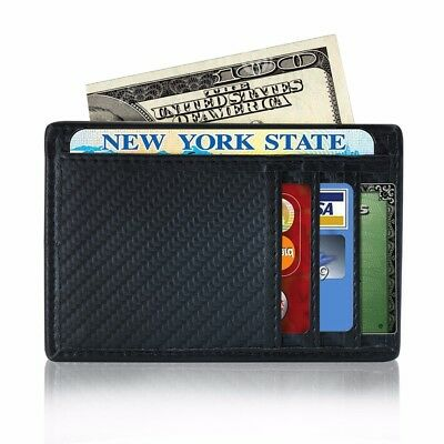 Black Thin ID Credit Card Holder case Carbon Fiber Wallet Money Clip PU Leather