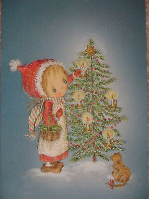 1 Unused Vtg Betsey Clark Embossed Christmas Card ~ Girl ~ Tree ~ Candles ~Kitty