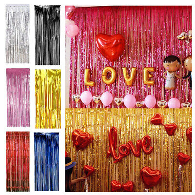 Shimmer Foil Tinsel Door Curtain Birthday Party Decorations Gold Silver 6 Colors