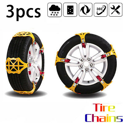 3 PCS Snow Tire Chain for Car Truck SUV Anti-Skid Emergency Winter Driving