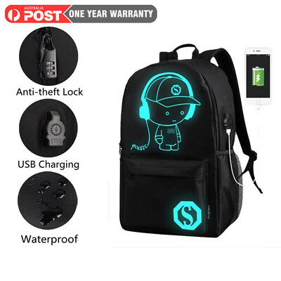 Anime Luminous Anti-Theft Mens Backpack Daypack Shoulder SchoolBag USB Charger