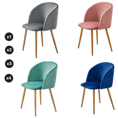 Set 1 2 3 4 Accent Dining Chairs Velvet Armchair Wood Metal Legs Home Furniture