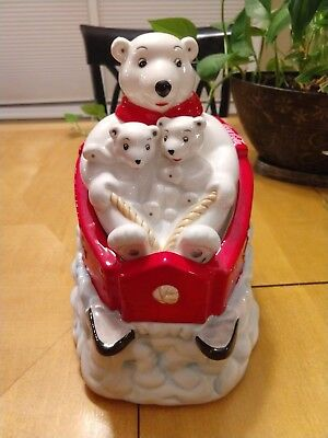 Coca-Cola Coke Polar Bear Downhill Sled 2005 Cookie Jar with Lid Gibson Red