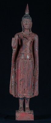"""Antique Khmer Style Wood Standing Protection Monday Buddha Statue - 64cm/26"""""""