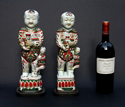 Two Large Antique Chinese Famille Verte Porcelain Figures Boys Kangxi