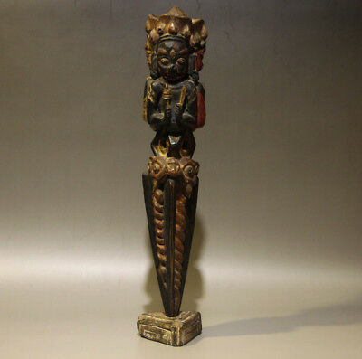 @Wonderful 18th Century Old Antique Tibet Carved Painted Wooden Phurba -Museum @