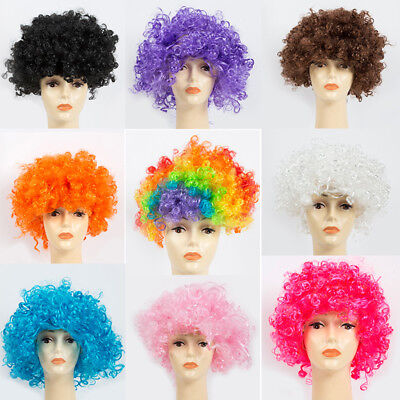 70s Hair Curly Afro Fancy Dress Wigs Mens Ladies Costume Funky Disco Clown Style