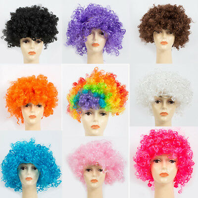 Curly Afro Fancy Dress Wigs Funky Disco Clown Style 70s Hair Mens Ladies Costume