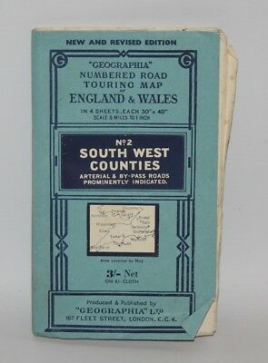 Geographia Numbered Road Touring Map - South West Counties, Sheet 2 - c1955