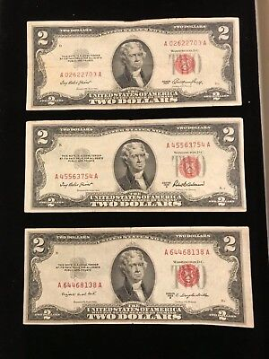 1953 & A ,B series  $2 RED SEAL Legal Tender UNITED STATES NOTE Paper Money  A02