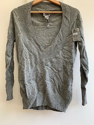 RIVER ISLAND WOMENS LONGLINE Grey Super Soft Knit With Open V-neck COST £29.99