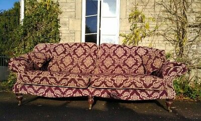 Large high-quality handmade vintage traditional 4-seater sofa in plum/ aubergine