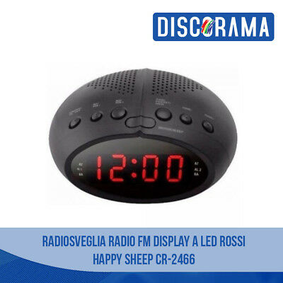 Radiosveglia Radio Sveglia Fm Display A Led Rossi Happy Sheep Cr-2466 Orologio