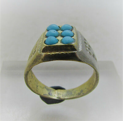 Beautiful Post Medieval Bronze Ring With Blue Stone Inserts