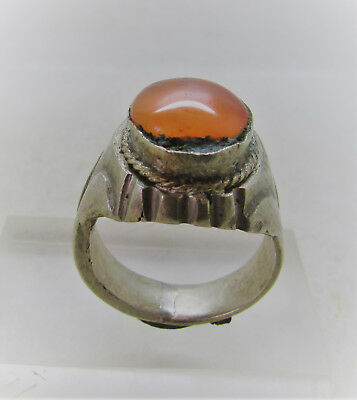 Beautiful Post Medieval Bronze Ring With Orange Stone Insert