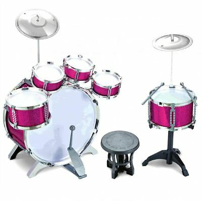784e8da2b Pink 27pc Rock Drum Kit Childrens Cymbal Music Percussion Playset Stool Toy  Gift