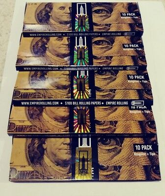 5x Packs ( Empire Rolling Papers King Size Plus Tip ) $100 Bill Money Wallet 100