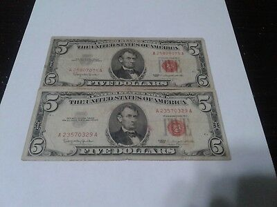 2- 1963 5$ Red Seal Notes In Circulated Condition