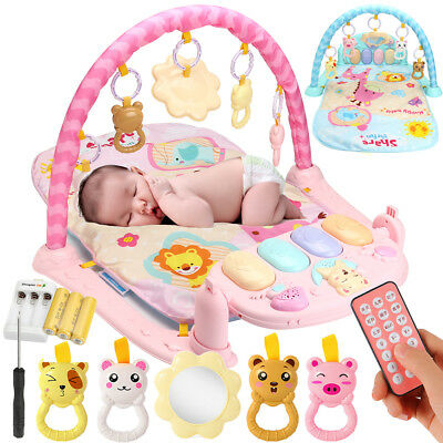 Remote Control 3 IN 1 Baby Fitness Lay & Play Musical Piano Toy Gym Exercise Mat