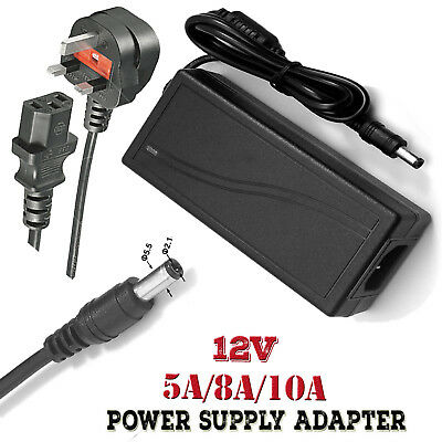 12V 5A 8A 10A Power Supply Adapter AC-DC PSU UK Plug for LED CCTV Camera DVR
