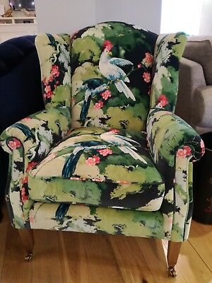NEW DELCOR 'Jarvis' Occasional chair- Ex Display - Linwood Jungle Jive Velvet