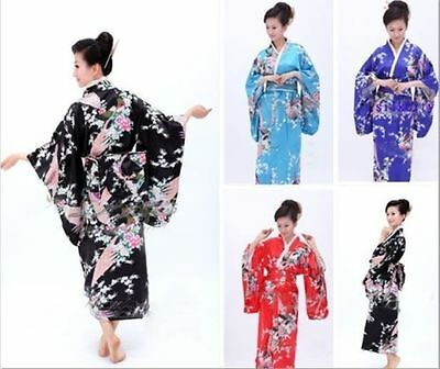 Hot ! Vintage Yukata Japanese Kimono Costume Dress with Obi
