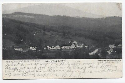 VT ~ Rare Early B&W Town View BONDVILLE Vermont 1908 Bennington County Postcard