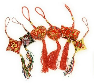 Feng Shui Lucky Red Tassel Sequin Chinese Hanging Bag Charm Year of the Pig Gift
