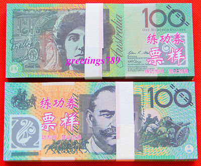 100PCS Play Money 100 AUD bills Full Print 2 Sided Real Looking Realistic