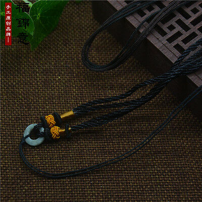 1Pcs Natural JADE beads Black Circle string cord rope for pendant Necklace A201