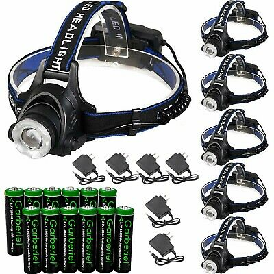 Lot UltraFire 90000LM T6 LED Zoom Headlamp Rechargeable 18650 Headlight &Charger