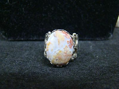 Vintage Silver-Toned Multi-Colored Agate Stoned? Small Adjustable Ring Accessory
