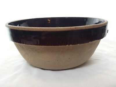 """Large 10"""" Vintage Earthenware Glazed Stoneware Bowl Cook-Rite Shabby Chic Brown"""