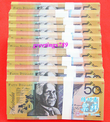 1000PCS Play Money 50 AUD bills Full Print 2 Sided Real Looking Realistic